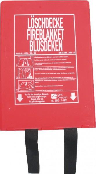 Löschdecke 120 x 180 cm in Kunststoffbox, EN 1869 geprüft